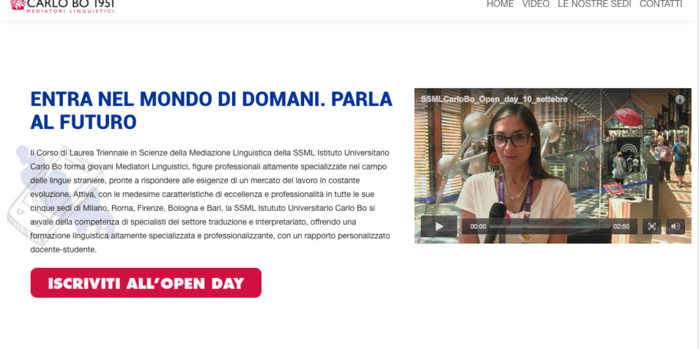 Carlo Bo Landing Page Design Sottomarini