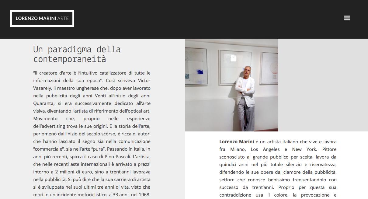 Website Lorenzo MArini Arte – Sottomarini Digital